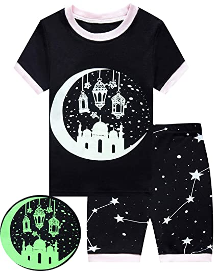5e90fb865e3 Image Unavailable. Image not available for. Color  Dolphin Fish Little  Girls Short Pajamas Castle Glow in The Dark Toddler Pjs Kids Summer Clothes  3t