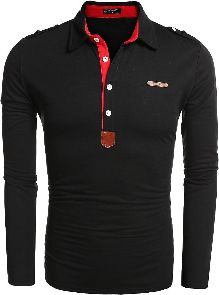 ac307d50e1 Men's Long Sleeve Polo Shirt Casual Slim Fit Classic Golf Polo T Shirts