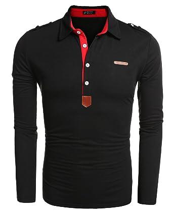 low priced 45af2 a1bbe Aulei Poloshirt Herren Hemd Slim Fit Langarm Elegante Stil Männer Freizeit  Haushemd