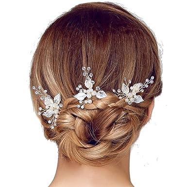 PICCOLI MONELLI Forcine capelli sposa perle e fiore strass ferretti per capelli  sposa fermagli accessori acconciature capelli matrimonio damigella cf 2 ... c1955dc9e042