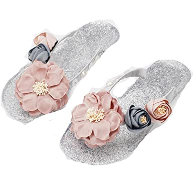 083c6448ffce Image Unavailable. Image not available for. Color  Women Flower Flip Flops  Vacation Beach Crystal Girls ...