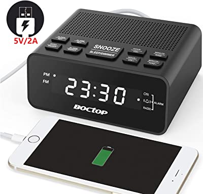 "Digital Alarm Clock Radio with USB Charger, 0.6"" Digits Dimmer LED Display, FM Radio with Sleep Timer, Easy Snooze for Bedrooms-Outlet Powered"
