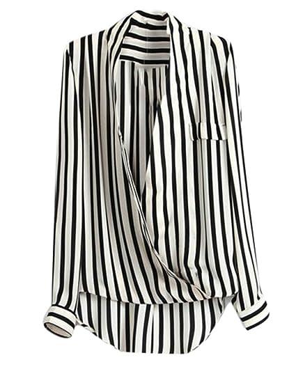 b4672e9a96a WANSHIYISHE-Women White Stripe Blouse Long Sleeve Button Up Shirt V Neck Chiffon  Tops One