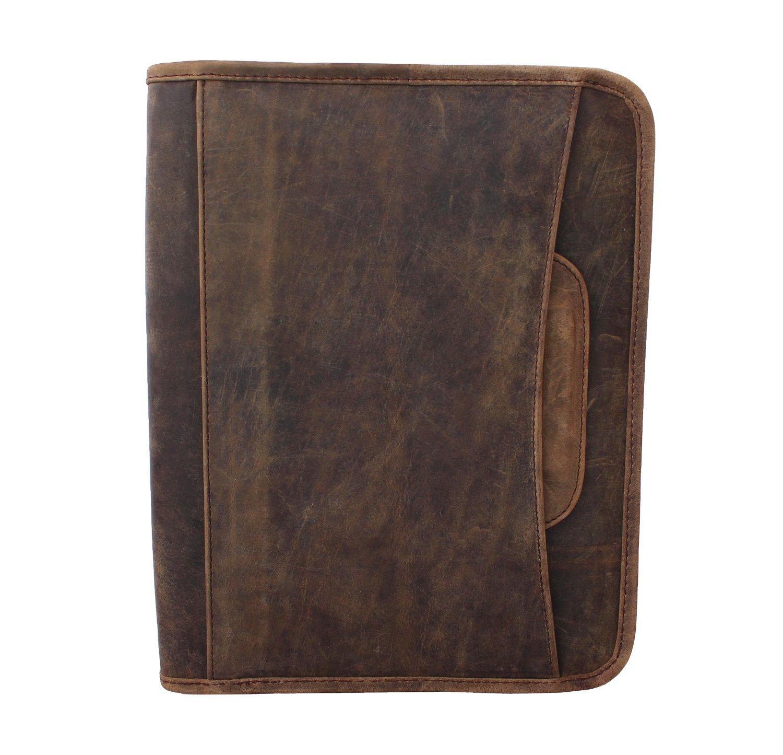 LUST Leather Business Portfolio, Hidden Briefcase Handle leather folder, Leather Padfolio, Zippered close personal organizer (Crazy Horse)