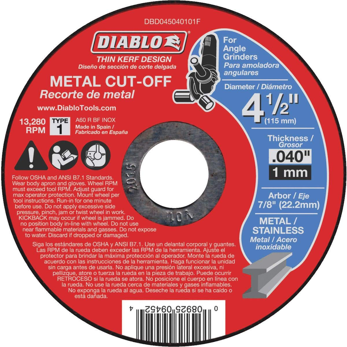 3. Diablo Thin Kerf Metal Cut Off Wheel