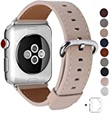 JSGJMY Compatible Apple Watch Band 38mm Women Light tan Genuine Leather Loop Replacement Iwatch Strap Stainless Steel Clasp Compatible Apple Watch Series 3 2 1 Sport Edition