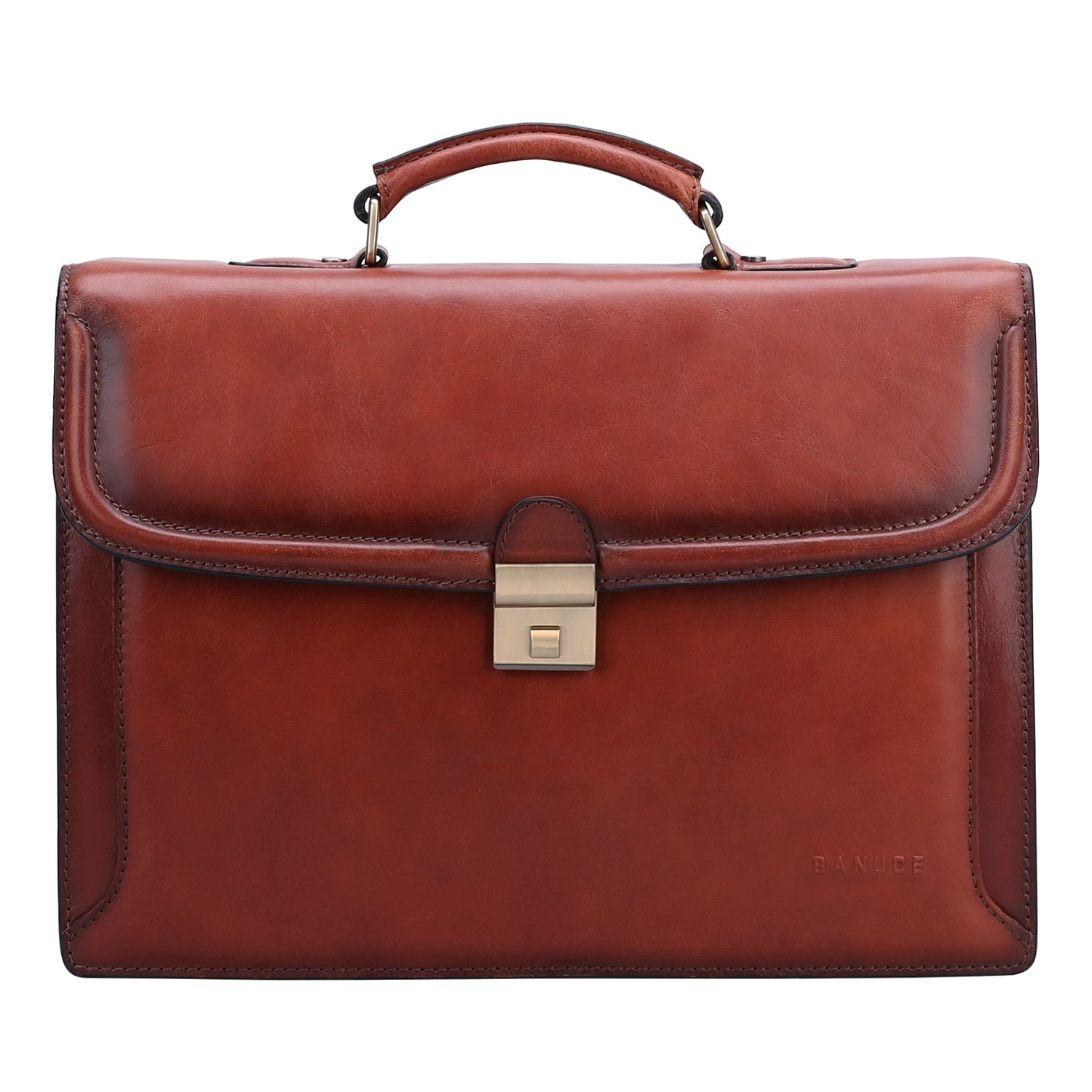 Banuce Men's Vintage Full Grain Leather Briefcase Lock Business Attache Case Executive Tote 14 inch Laptop Messenger Bag Brown