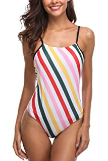 0cf10d5d405 CharmLeaks Women Colorful Stripe One Piece Swimming Costume Padded Monokini…