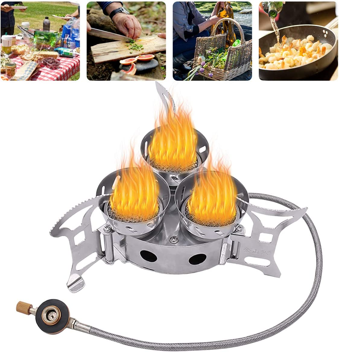 Qdreclod Camping Stove, 11000W Three-core Windproof Camping Gas Stove Mini Portable Stove with 3 Foldable Non-Slip Support Stand, Outdoor Backpacking Camp Stove Burner, Heavy Duty Support Up to 66 lb