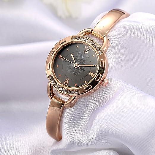 Reloj de Pulsera para Mujer Impresionante Correa de Aleación de Movimiento de Cuarzo Reloj de Pulsera de Reloj Analógico de Esfera Redonda de Flor(plata ...