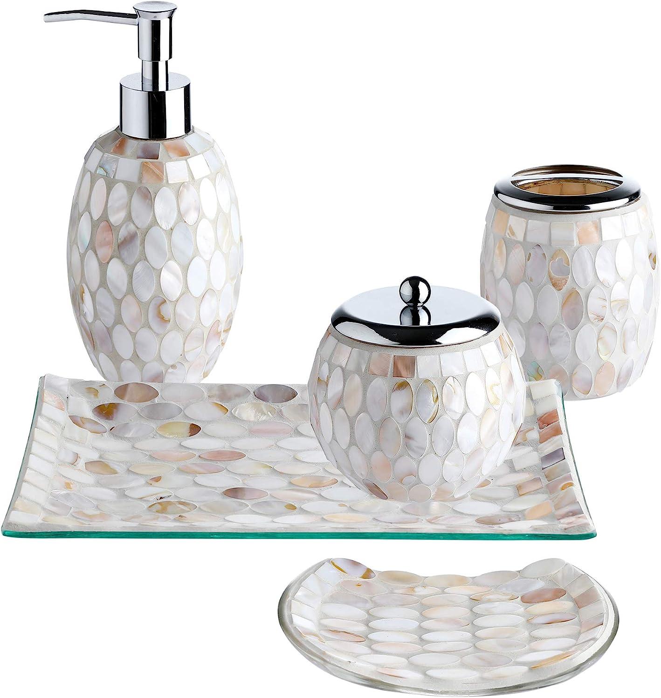 Whole Housewares 5 Pieces Bathroom Accessories Set Bathroom Soap Dispenser Set Mosaic Glass Bath Ensemble Lotion Dispenser Toothbrush Holder Cotton Jar Vanity Tray Soap Dish Pearl Home Kitchen