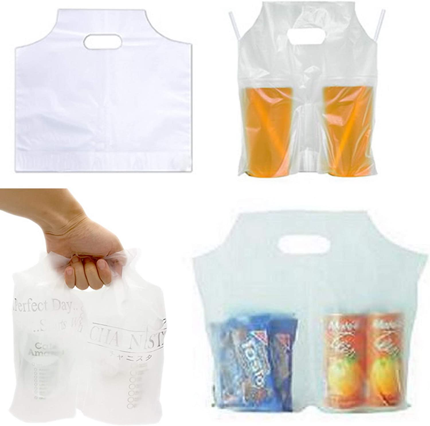 100PCS Plastic Clear Handle Drink Containers Bags for Shops Stores Delivery Hanging Carry Take Out Beverage Coffer Milk Juice Water Tea Hole Liquid Pouches Single or Double Cups (Double Cups)