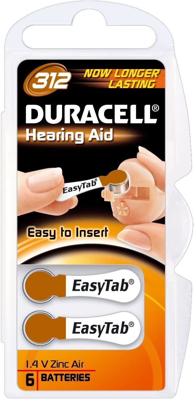 Pack Of 6 Duracell Da 312 Easy Tab Hearing Aid Elektronik