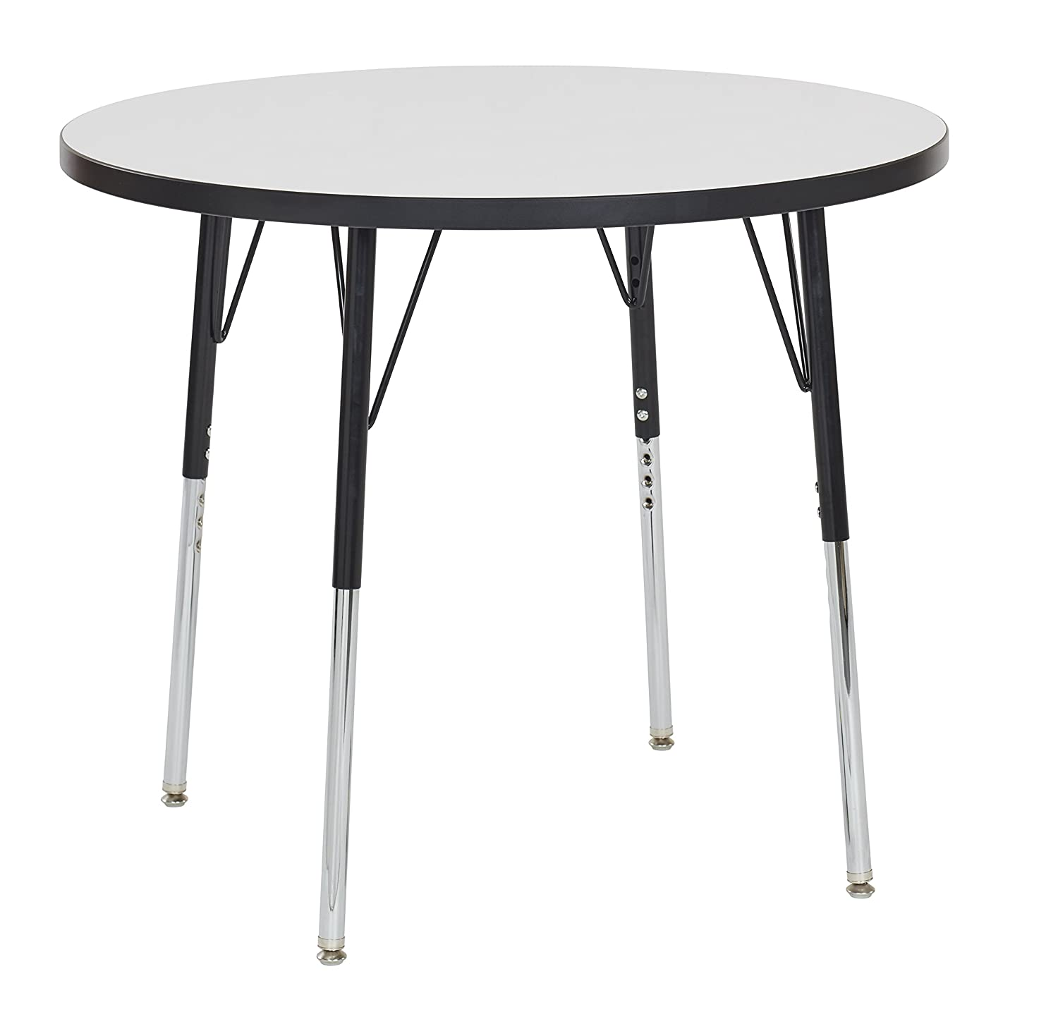 "ECR4Kids 30"" Round Dry Erase Adjustable Activity Table, Chunky Legs, 15-24"" H (Black Edge/Black Legs) ELR-14621-DEBKBKCH"