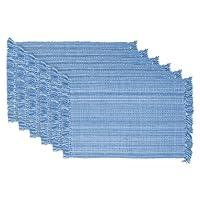 DII 100% Cotton, Tonal Fringe, Variegated, Machine Washable, Everyday Kitchen Basic Placemat, Set of 6