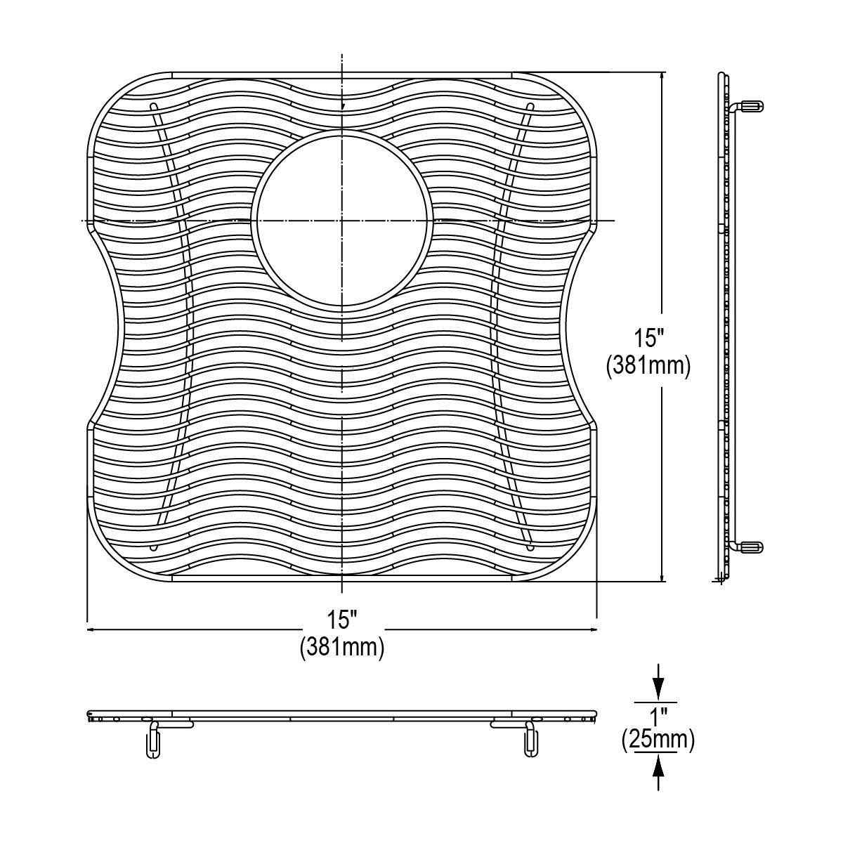 Elkay LKWOBG1616SS Wavy Wire Bottom Grid, Stainless Steel