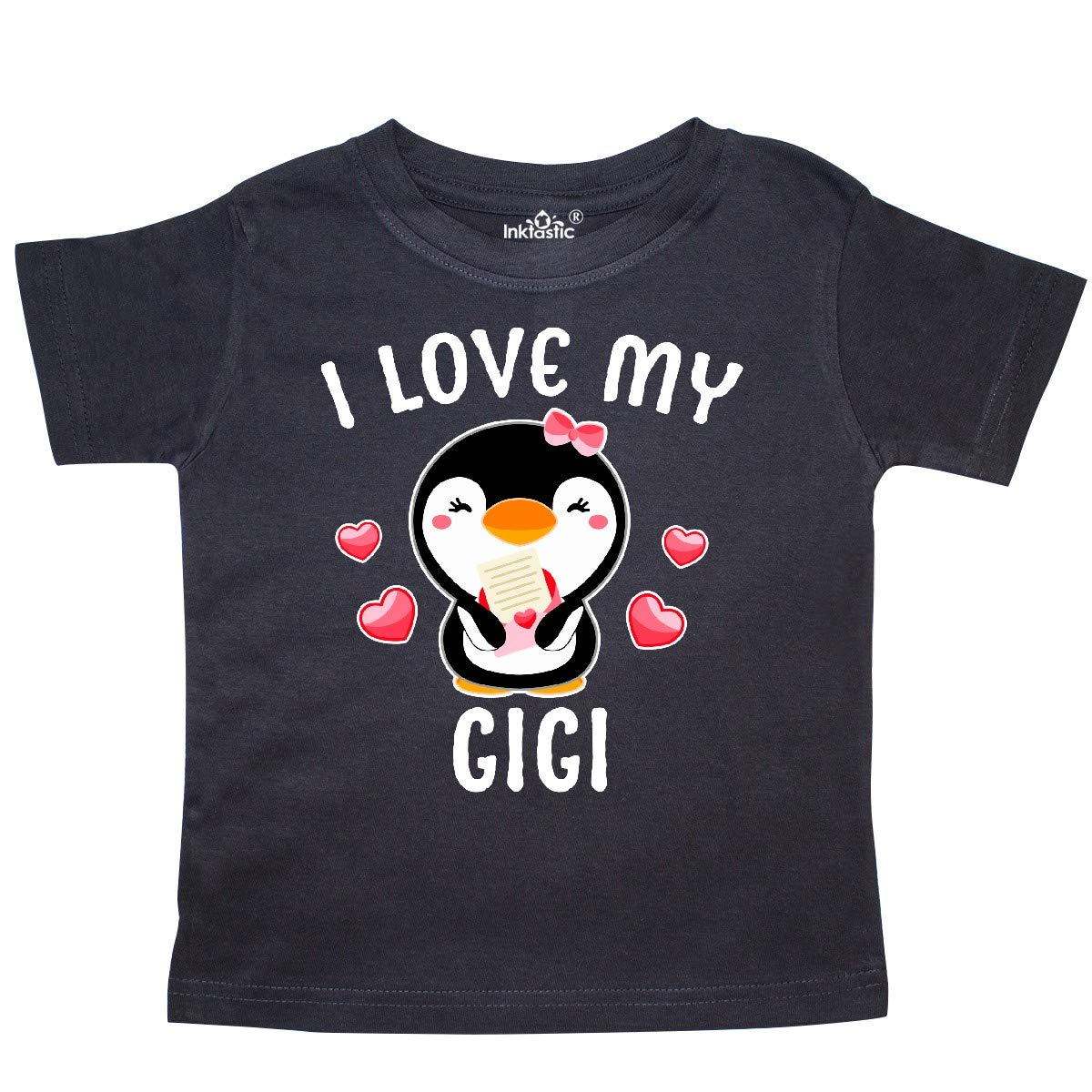 inktastic I Love My Gigi with Cute Penguin and Hearts Toddler T-Shirt