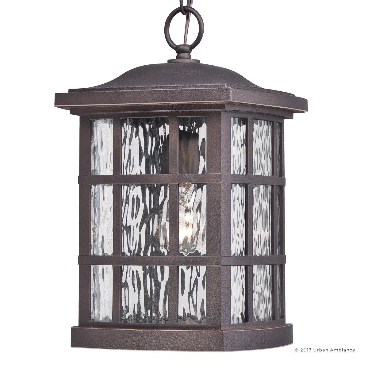 Luxury Craftsman Outdoor Pendant Light, Medium Size: 15''H x 9.5''W, with Tudor Style Elements, Highly-Detailed Design, Oil Rubbed Parisian Bronze Finish and Water Glass, UQL1251 by Urban Ambiance