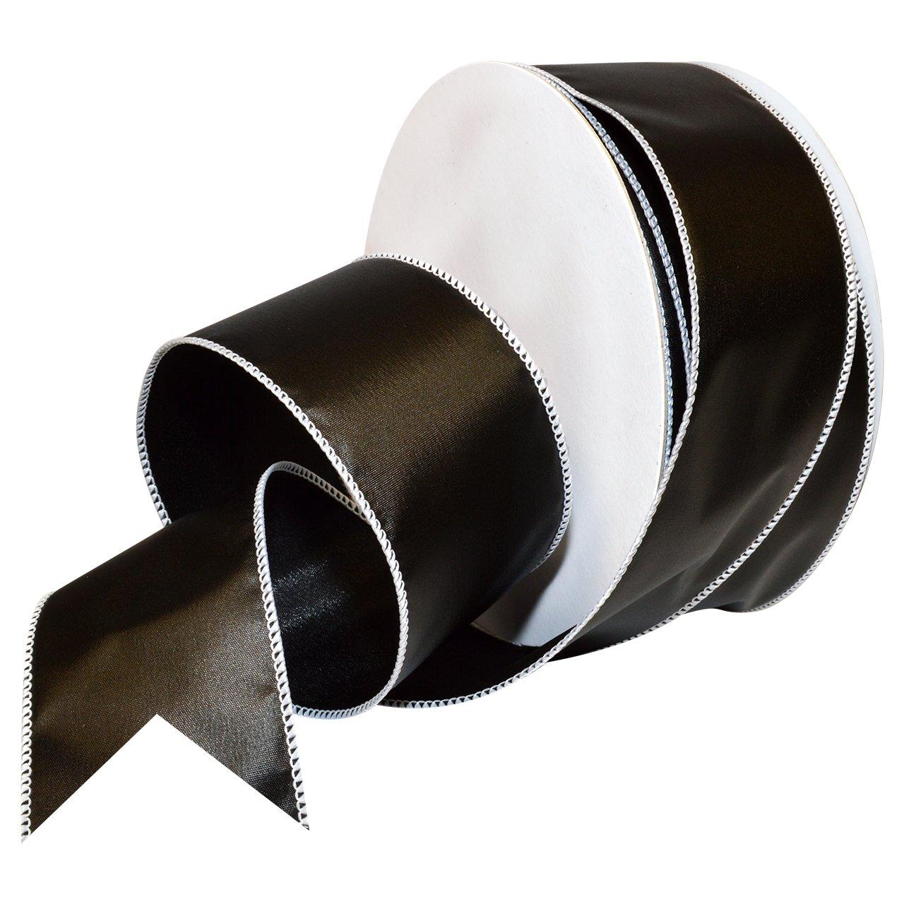 Morex Ribbon 7337.60/50-613 フレンチワイヤー ポリエステル 黒板リボン 2 1/2インチ x 50ヤード ブラック   B016QCDJ1C