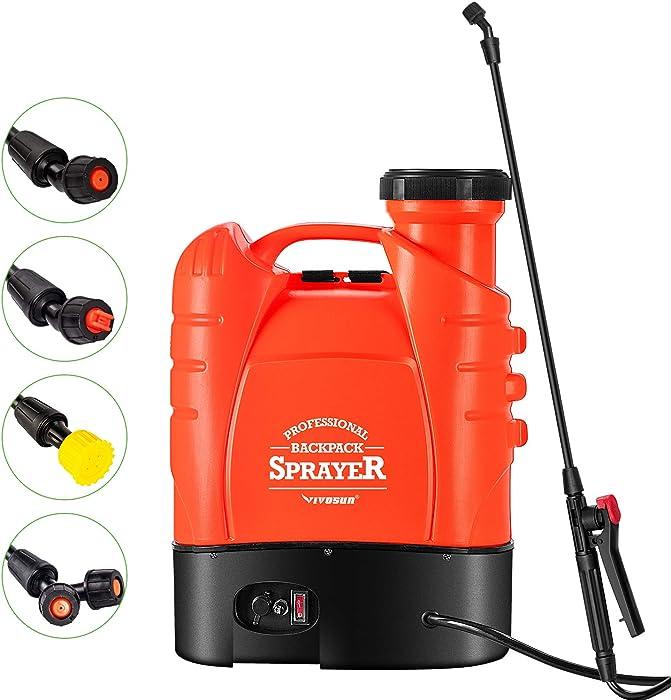 VIVOSUN 4 Gallon Battery Powered Backpack Sprayer Electric Pump Sprayer with Four Nozzles for Garden Lawn, Orange