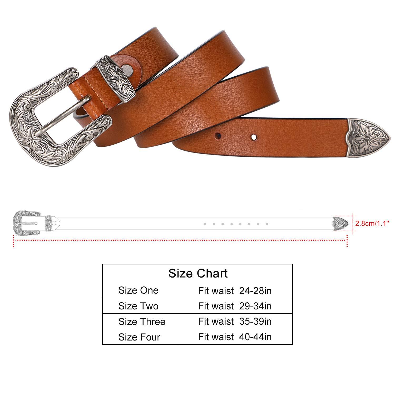 Ladies Western Leather Belts Cowhide Leather Jeans Belt Vintage Dresses Skinny Belt Adjustable Metal Buckle 28''-34'' Gift Box Brown by XZQTIVE (Image #6)