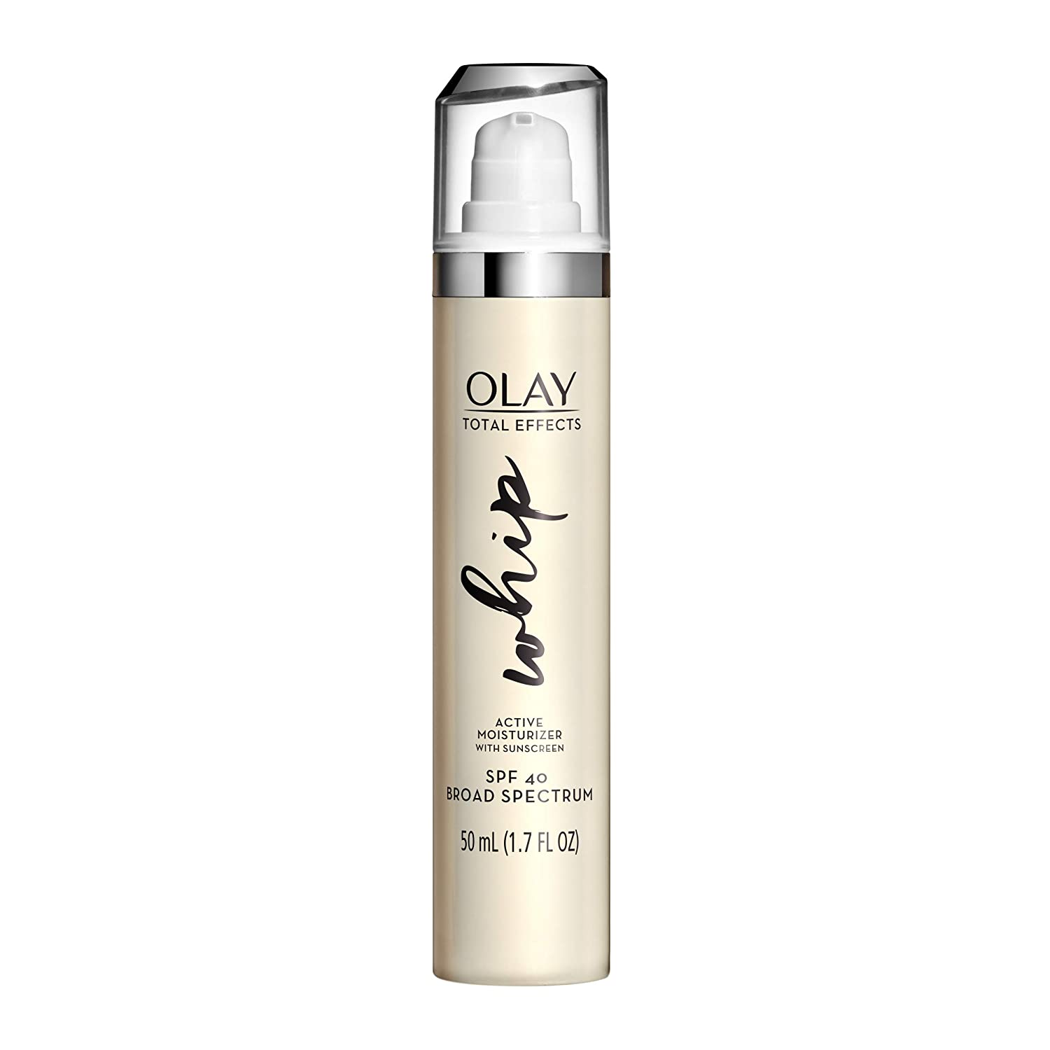 Face Moisturizer with SPF by Olay, Total Effects Whip Facial Sunscreen, Vitamin C, and B3, SPF 40 with UVA and UVB Protection, 1.7 Fl Oz