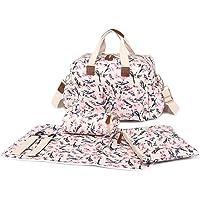 Miss Lulu 4 pcs oiseau fleur motif bébé Nappy couche sac à langer ensemble grande épaule sac à main toile cirée fourre-tout