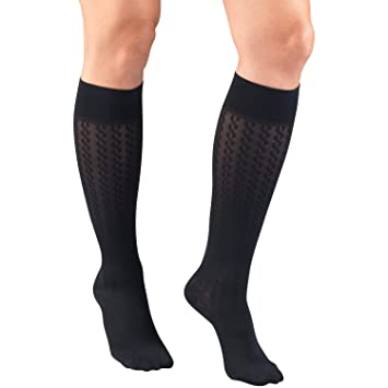 Truform Compression Socks for Women, 15-20 mmHg, Navy Cable Pattern, X