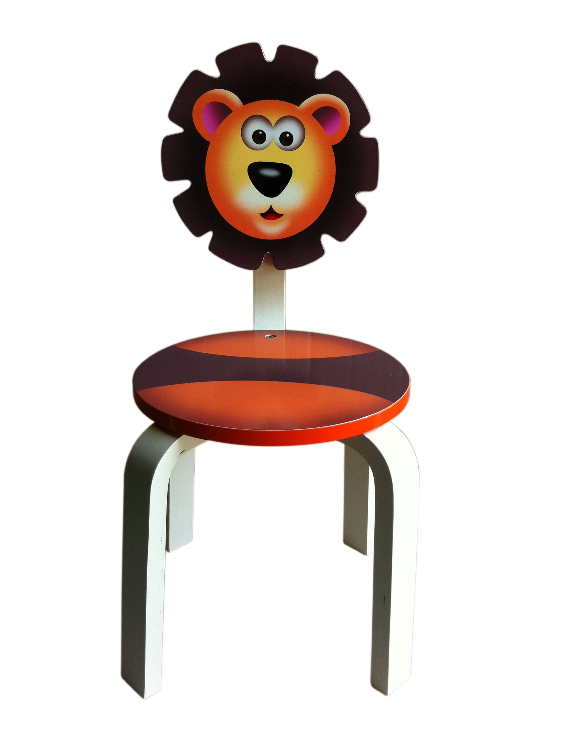 Inskeppa Safari Collection Kid's Lion Wood Chair. Cute Design and Functional Chair for Any Room