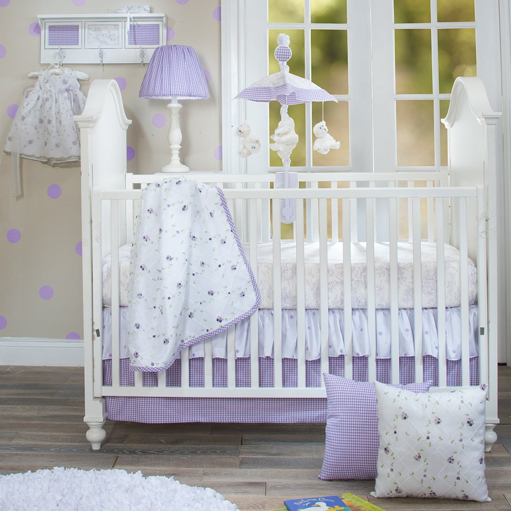 Glenna Jean Cottage Collection Sweet Pea White Lamp W Purple Gingham Shade by Glenna Jean Cottage Collection