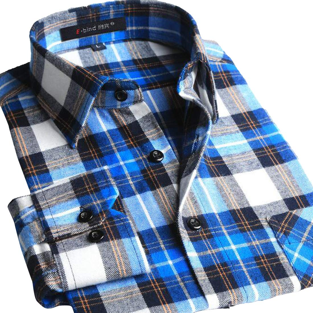 XTX Men Casual Flannel Buffalo Long-Sleeve Plaid Cotton Slim Shirt