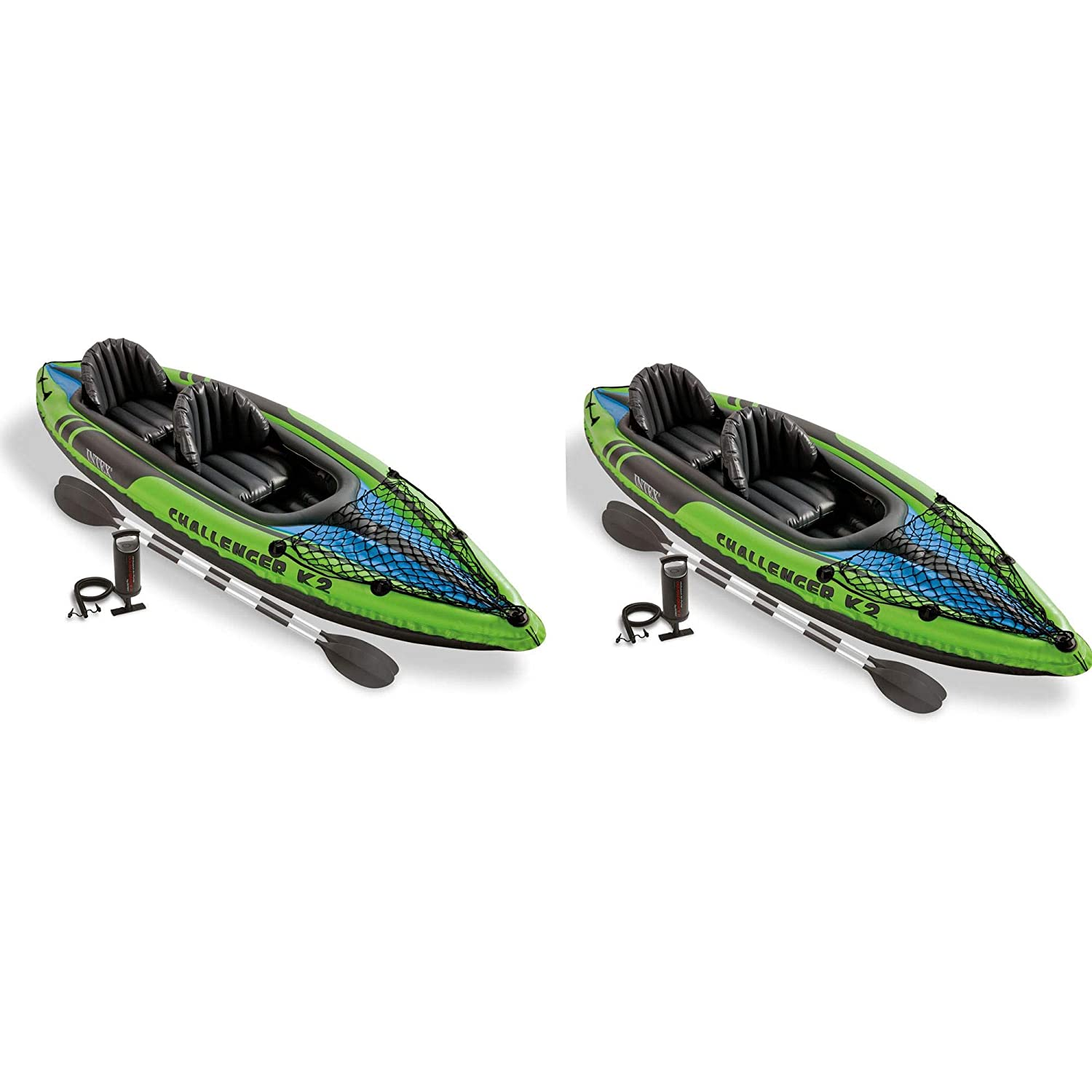 Intex Challenger K2 2-Person Inflatable Sporty Kayak Oars And Pump 2 Pack