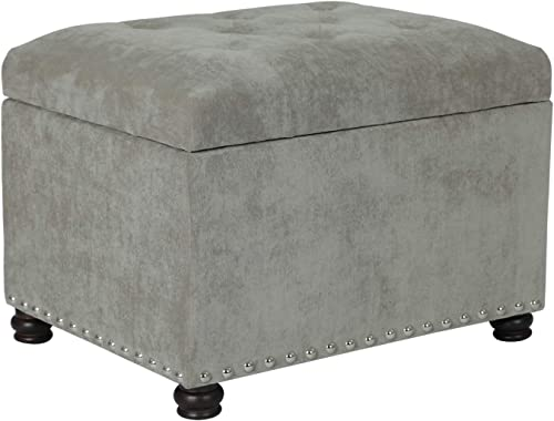Deco De Ville High End Classy Tufted Accents Rectangular Storage Bench Ottoman Footstool