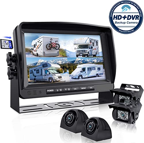 Backup Camera System with 9 Large Monitor and DVR for RV semi Box Truck Trailer Rear and Side View Quad HD Camera 4 Split Screens Advanced Record Function IP69 Waterproof Avoid Blind spot erapta A9