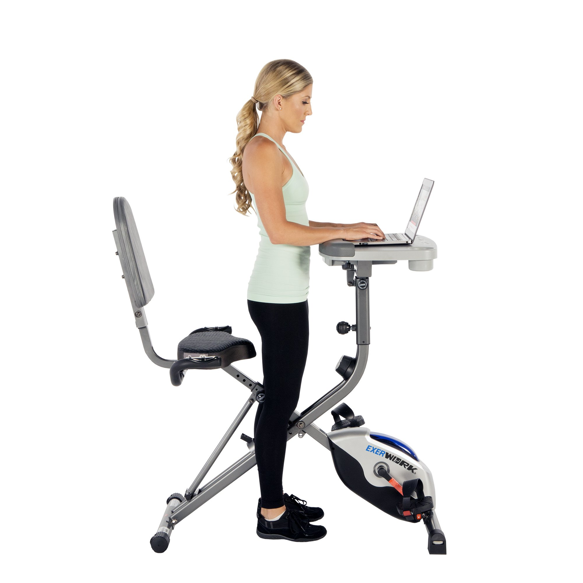 Exerpeutic ExerWorK 1000 Fully Adjustable Desk Folding Exercise Bike with Pulse by Exerpeutic (Image #6)