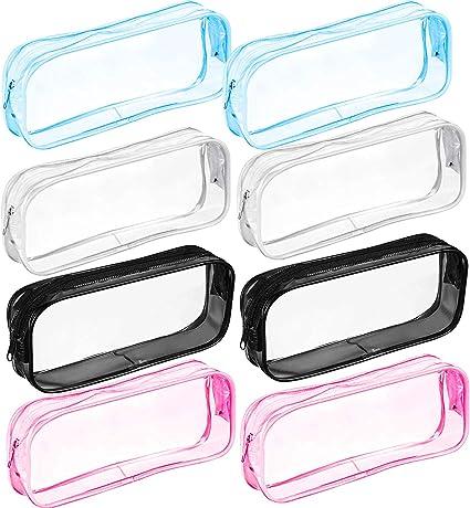 Lindong - Juego de 8 estuches transparentes de PVC de gran capacidad, con cremallera, para artículos de papelería, 4 colores: Amazon.es: Oficina y papelería