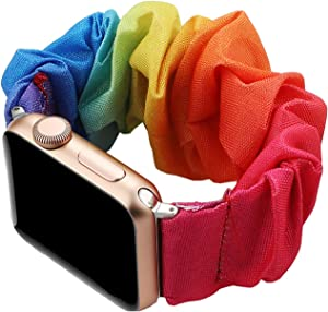 Magwei Scrunchie Elastic Watch Band Compatible with Apple Watch 38mm/40mm 42mm/44mm,Elastic Wristband Replacement Compatible for iWatch Series 6/5/4/3/2/1 Apple Watch SE (Rainbow, 42mm/44mm)