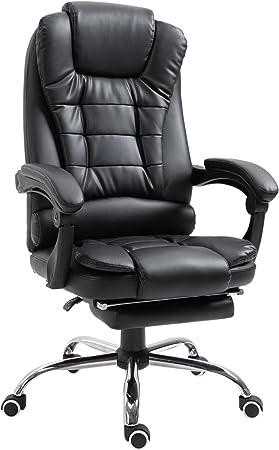 silla homcom oficina cuero pu negro