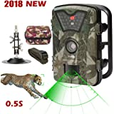 Wildlife Trail Camera Trap 1080P 12MP No Glow Infrared Night Vision Motion Activated Animal Camera Cam 0.5s Trigger Speed 2.4Inch Screen IP66 Waterproof for Outdoor Surveillance Home Security Hunting