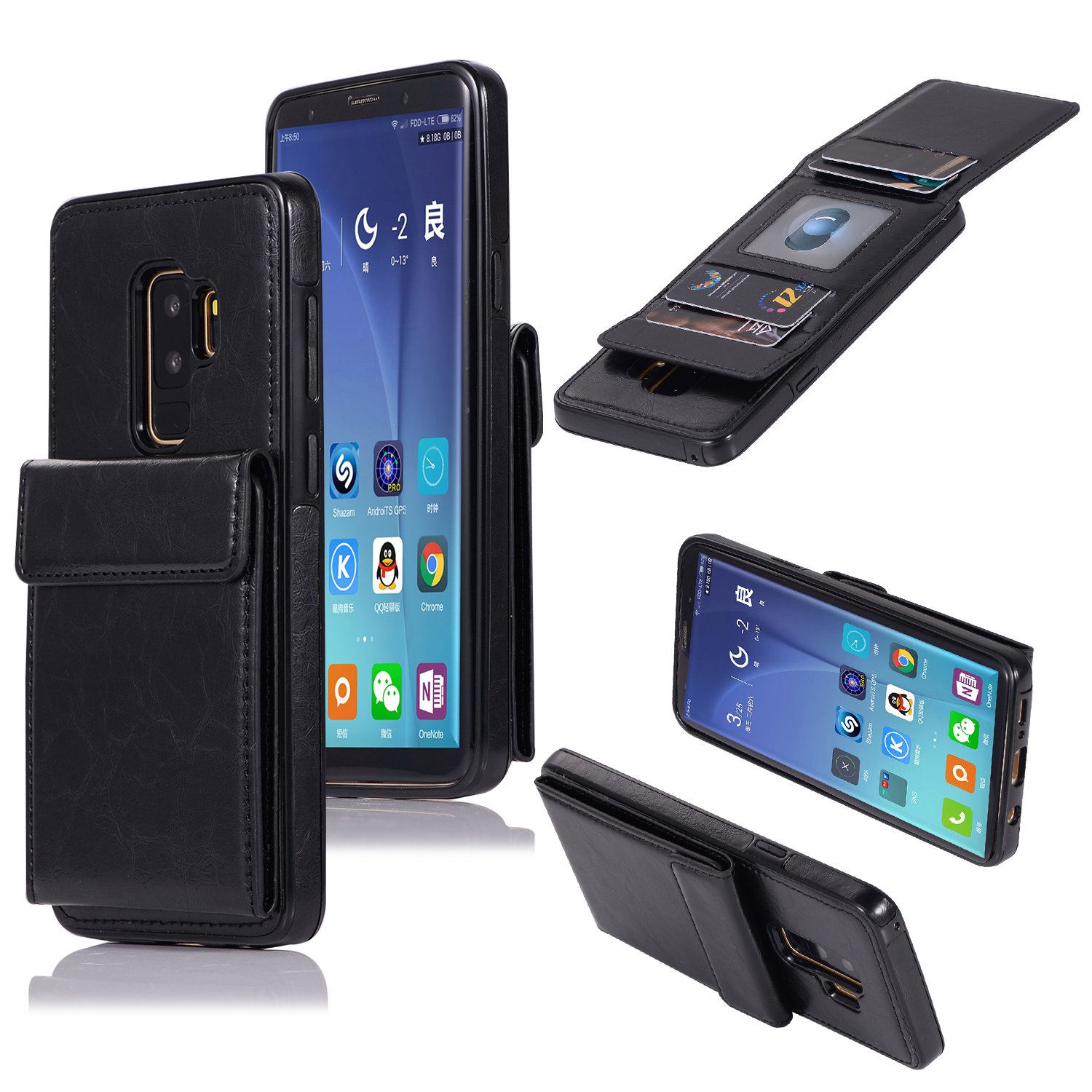 DAMONDY Wallet Case for Galaxy S9 Plus,Luxury Wallet Purse Card Holders Design Cover Soft Shockproof Bumper Folio Flip Leather Kickstand Case for Samsung Galaxy S9 Plus 6.2 inch (2018)-Black by DAMONDY