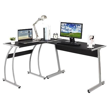 WOLTU L Shape Computer Desk Black Corner Computer Desk For Home Office Use  Wood Gaming
