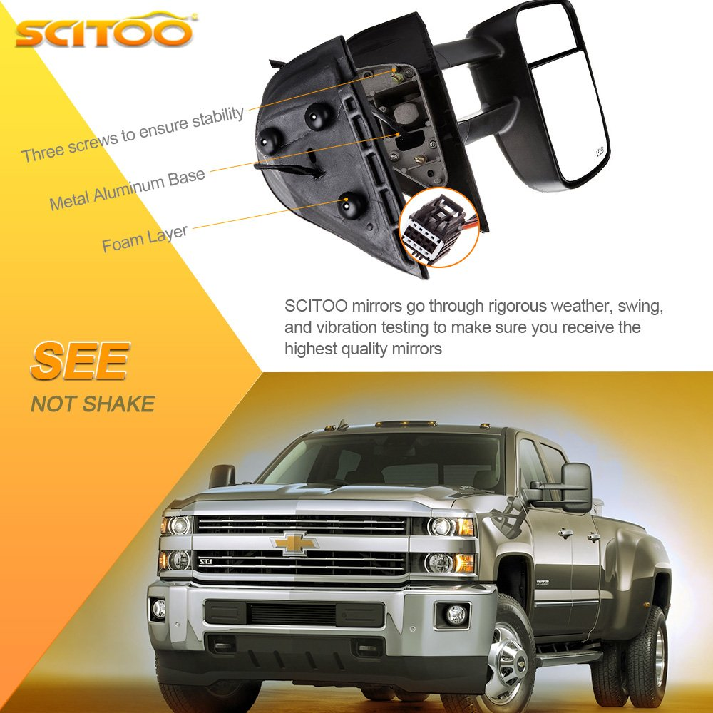 Just 07 New Body Style SCITOO Towing Mirrors Chrome Replace Mirror Parts with Indicator Light Puddle Light Electrical Operated Defrosting Function Compatible for fit 07-13 Chevy//GMC Silverado//Si