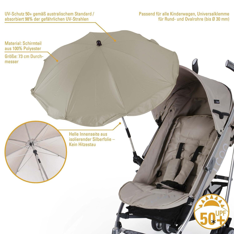 Sonnenschirm UV50 f/ür den Kinderwagen und Buggy /Ø73 cm verstellbar /• 50+UV Sonnenschutz Universal Sonnendach Sonnensegel