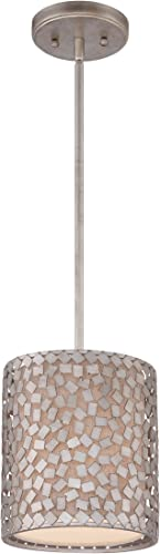 Quoizel CKCF1508OS Confetti Mini Drum Pendant Lighting, 1-Light, 100 Watts, Old Silver 9 H x 8 W
