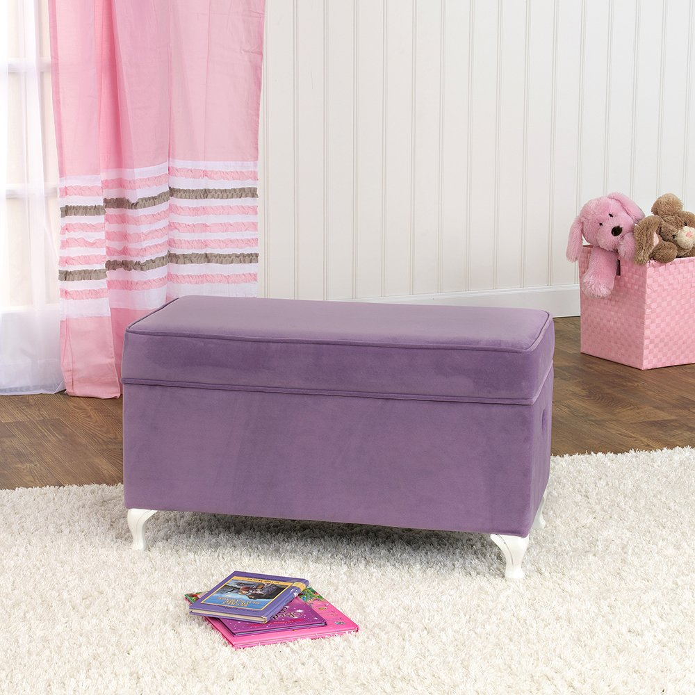 HomePop Diva Youth Velvet Decorative Storage Bench with White Wood Legs, Purple by HomePop (Image #3)