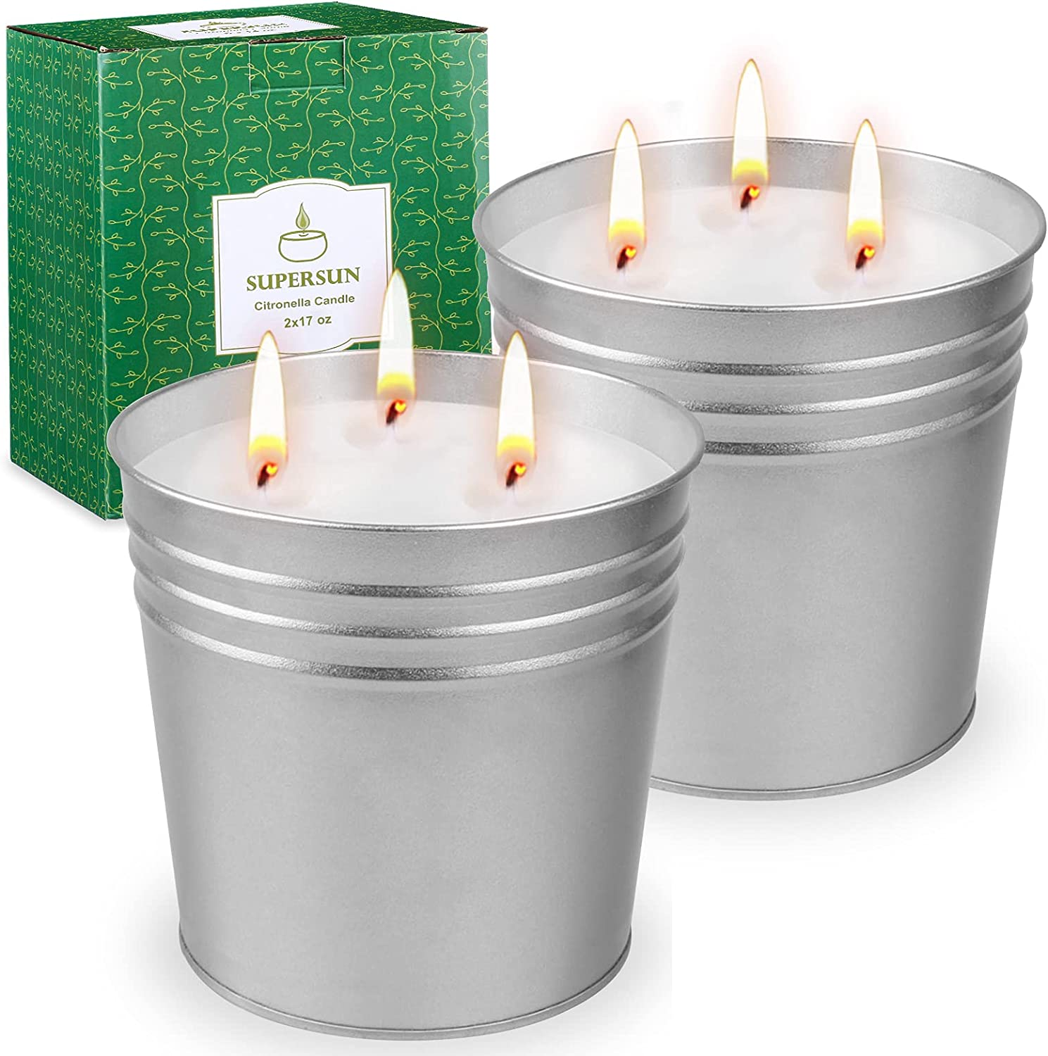 SUPERSUN Garden Citronella Candles Outdoor Large 100 Hours Each Candle, 2 x 17 Ounce Garden Candles, Soy Wax Indoor Candles Set