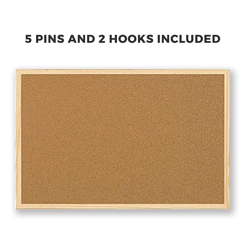 2X Indigo Noticeboard Cork with Pine Frame W 900 x H 600mm 5 Star
