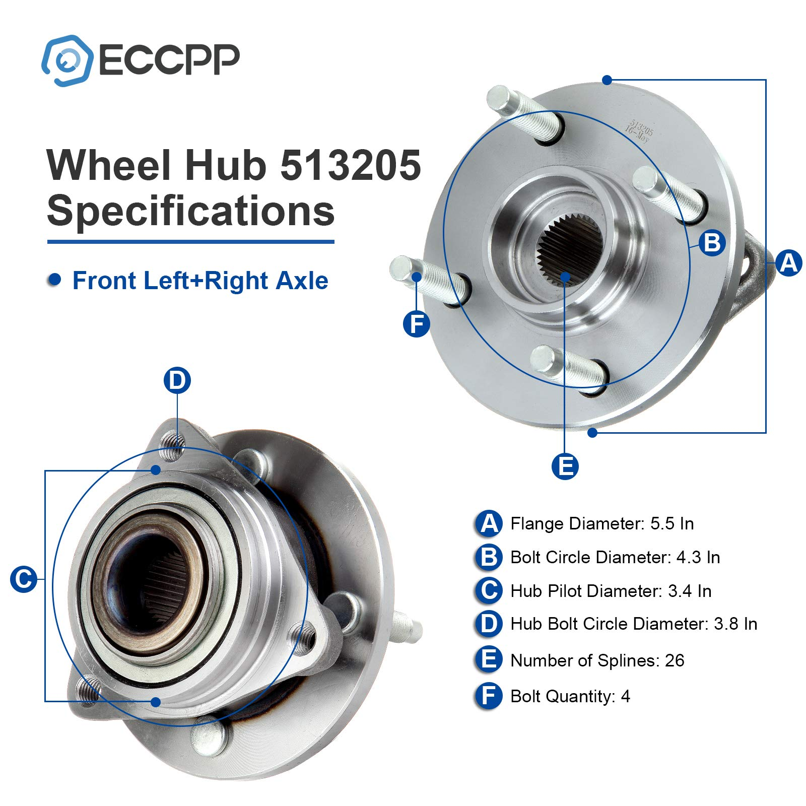 1 Brand New Wheel Hub Bearing Front 03-07 Fits Saturn Ion Chevy Cobalt 513205