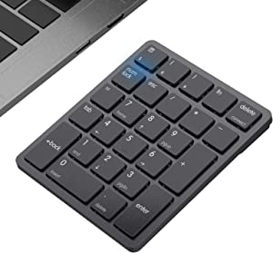 Bluetooth Number Pad, Havit USB Wireless Numeric keypad 26 Keys Portable Mini Financial Accounting Rechargeable Numeric Pad for Mac, Laptop Desktop, PC, Surface Pro,Notebook (Black)