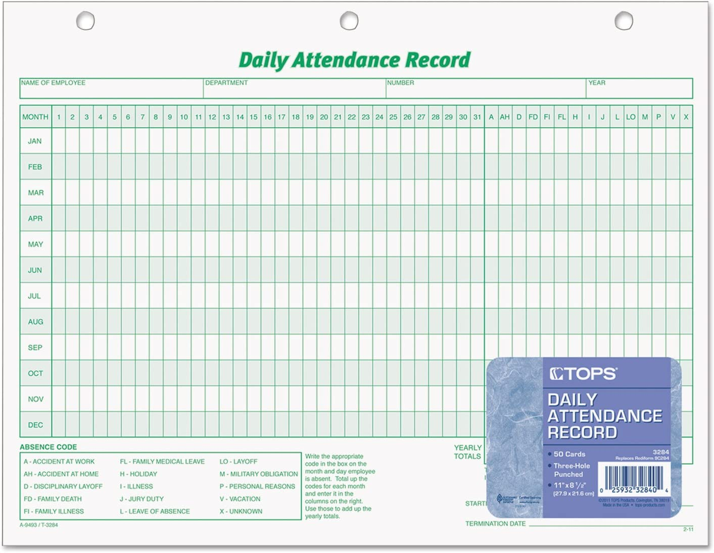 Daily Attendance Card TOP3284
